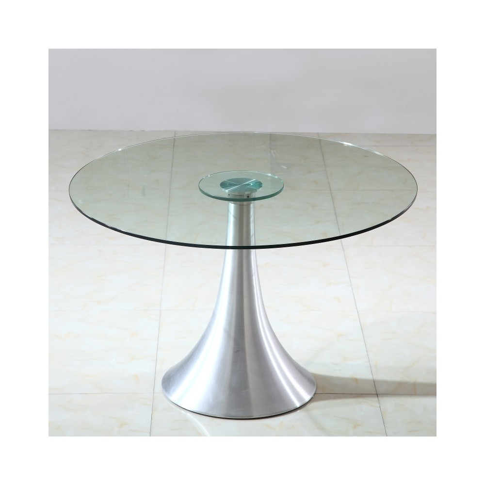 Table ronde pied central inox images - Table de cuisine ronde en verre pied central ...