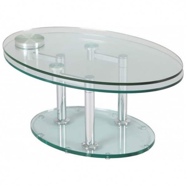 Table basse verre ovale articulee for Table de salon en verre