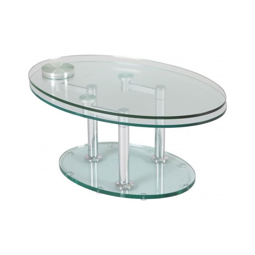 Table ronde extensible en verre Briac Ø 150 cm