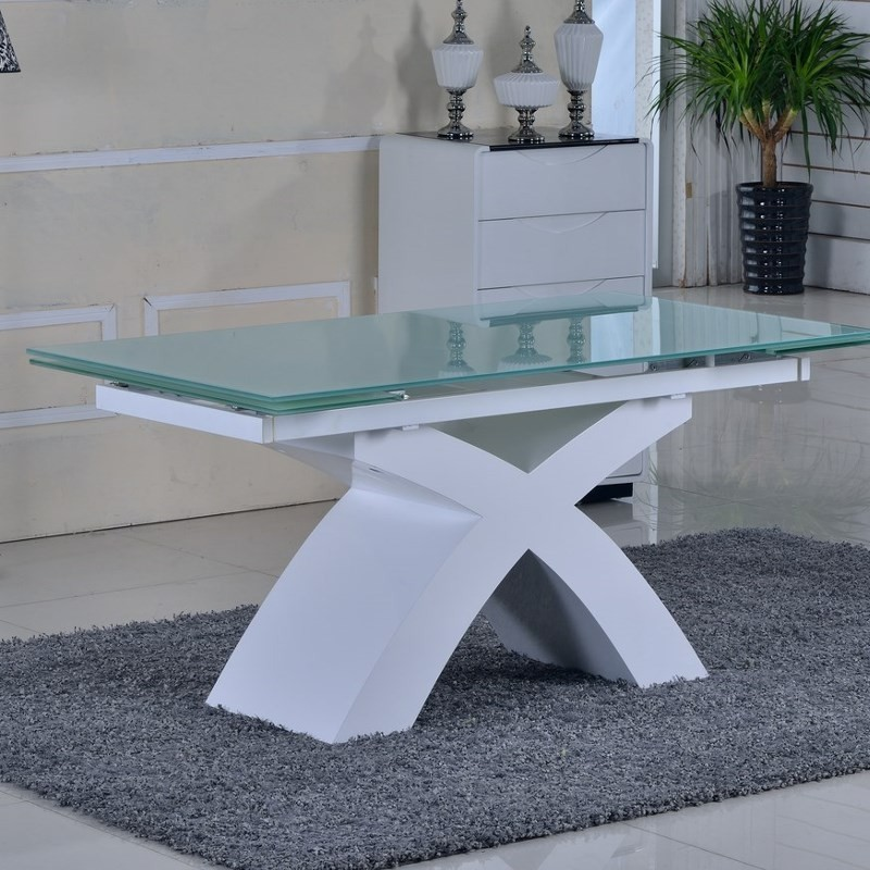 Table verre blanc for Table verre blanc extensible