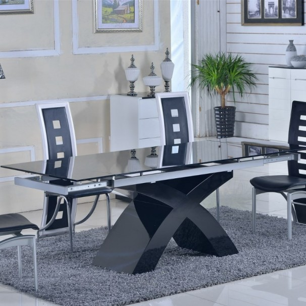 table verre rallonge salle manger. Black Bedroom Furniture Sets. Home Design Ideas