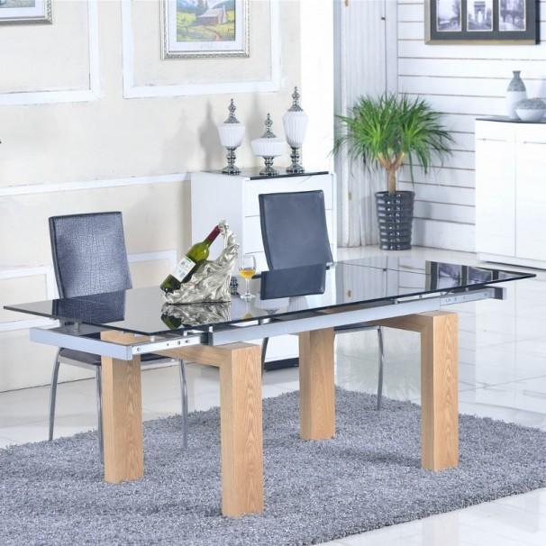 Table jardin noire extensible des id es for Table verre noir extensible