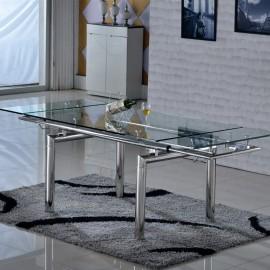 Table en verre extensible Inox Santos