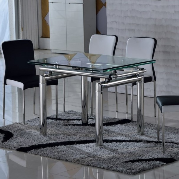 Table en verre tremp et inox extensible vinto - Table rectangulaire en verre ...