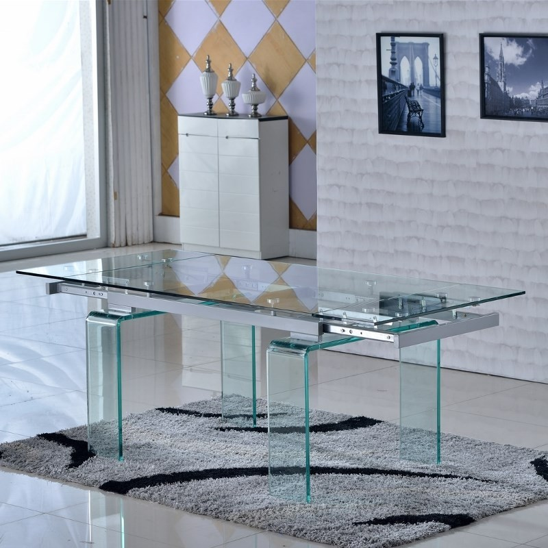 Tables en verre avec rallonges - Table en verre rectangulaire ...