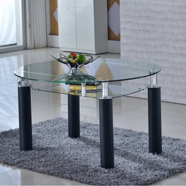 Table en verre ronde rallonge extensible for Set de table verre