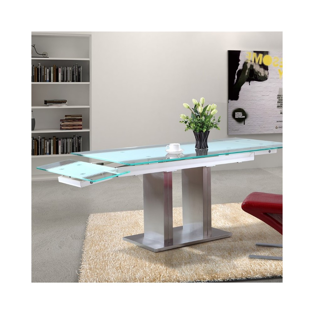 Table de jardin extensible pied central - Table de cuisine ronde en verre pied central ...