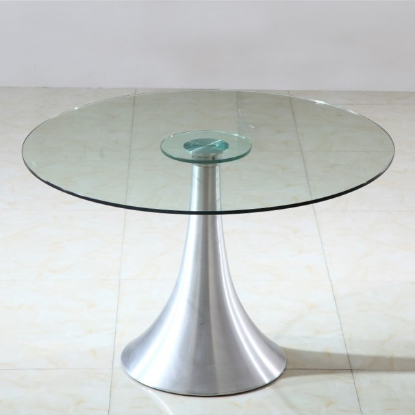 Table verre ronde pied central for Table ronde plateau verre pied central