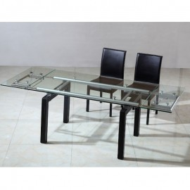 Table en verre extensible + pieds en simili cuir Karma 210/150