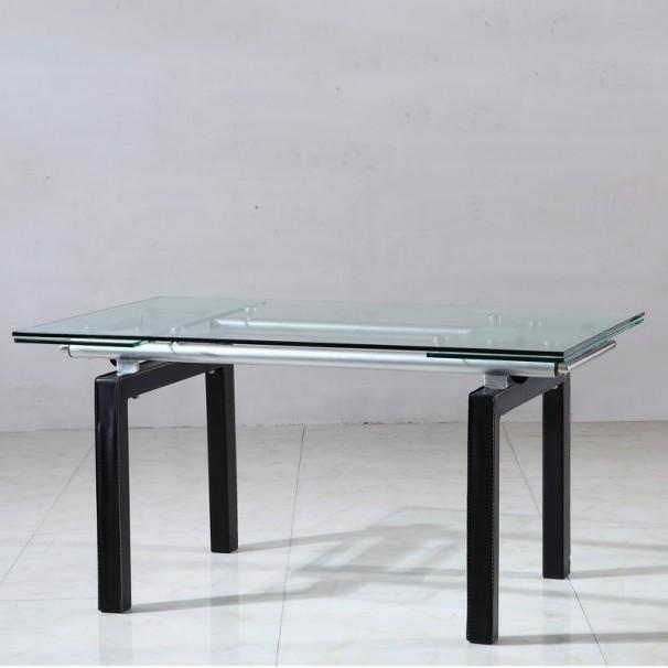 Table en verre extensible pieds en simili cuir karma 210 for Table extensible 4 pieds