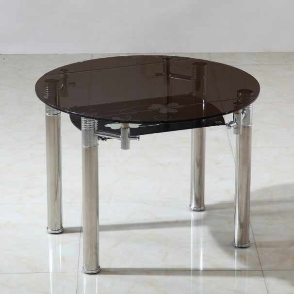 Table ronde extensible en verre fum milos 140 cm - Table extensible verre ...