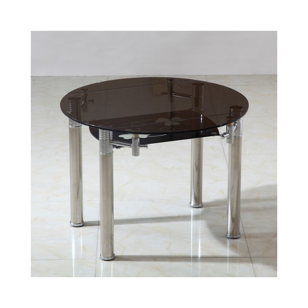 Table ronde rallonge personnes for Table verre noir extensible