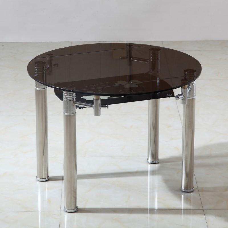 table ronde extensible en verre fume milos o cm