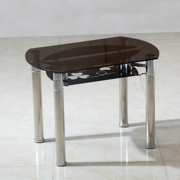 table ronde extensible en verre fum milos 140 cm ebay. Black Bedroom Furniture Sets. Home Design Ideas