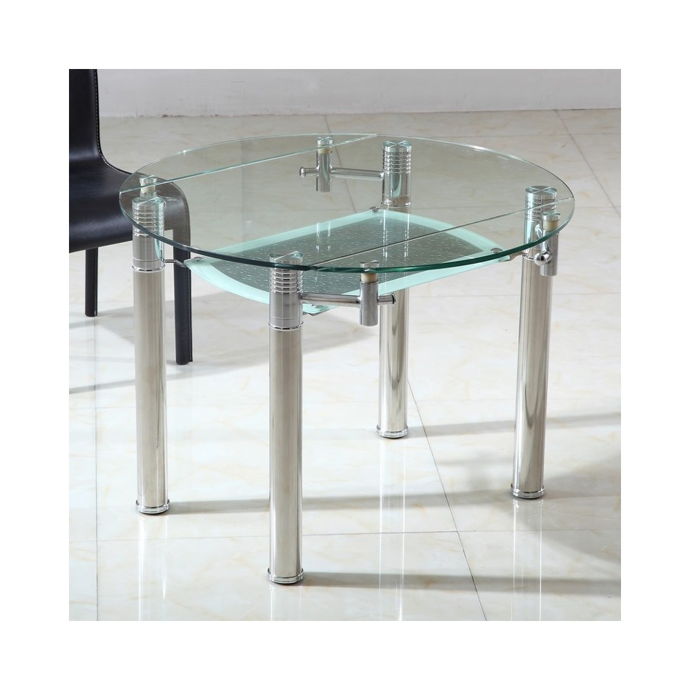 Table ronde en verre extensible ronde table de lit for Table en verre avec rallonge