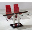 Table en verre pied central Sirna