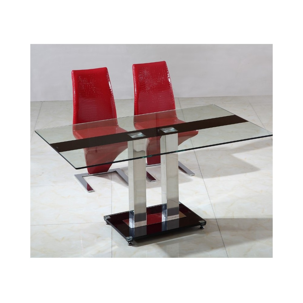 Table en verre pied central sirna for Table en verre but