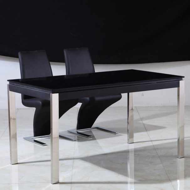 Table en verre leros chrome Table en verre design